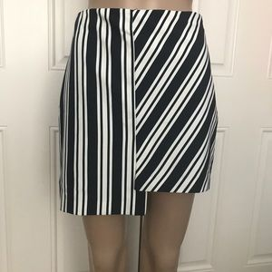 NWT Zara navy white stripe asymmetric mini skirt